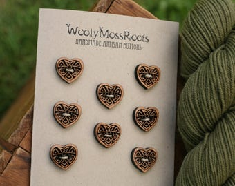 8 Wood Celtic Heart Buttons- Cherry Wood- Wooden Buttons- Eco Craft Supplies, Eco Knitting Supplies, Eco Sewing Supplies