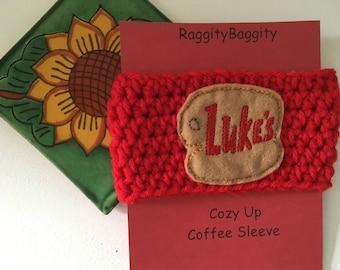 Coffee Cup Cozy in Red with Luke's Feltie