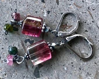 Watermelon Tourmaline Earrings, Pink Stone Earrings, Shaded Drop Earrings, Pink Drop Dangle Earrings, Pink Tourmaline Earrings
