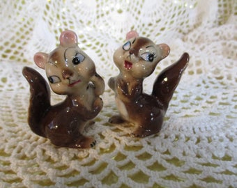 Anthropomorphic Squirrel Salt & Pepper Shakers Hand Painted