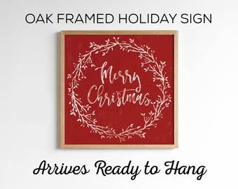 Christmas Wreath Sign - Available in 2 Sizes and 3 Color Options - Rustic Vintage Holiday Decor