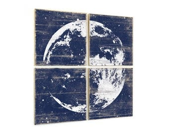 Full Moon Print - Astronomy Wall Art - Custom Made Moon Print Collection on Wood Panels