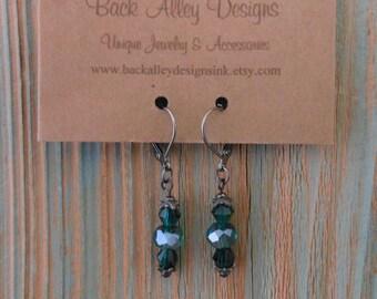 Emerald Beaded Earrings Gunmetal Dangle Style for Women ~ Dainty Drop Earrings Boho Inspired Jewelry  ~ Under 30 Dollar Gifts for Ladies