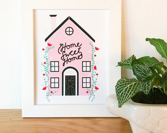 Home Sweet Home Print, Home Sweet Home Illustration, Quote Illustration, Saying Art