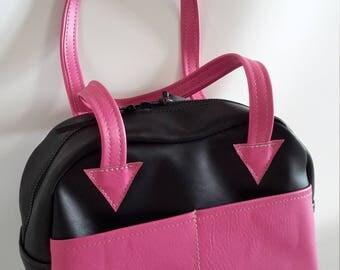 Black /Pink Medium Shoulder Handbag with Exterior Pockets