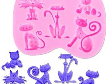 Beautiful Kitten Cat Silicone Molds Fondant Silicone Cake Moulds Tools Cake Silicone Cooking Tools