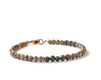 Essential Oil Diffusing Bracelet, Lava Stones & Leopard Jasper, Aromatherapy Jewelry