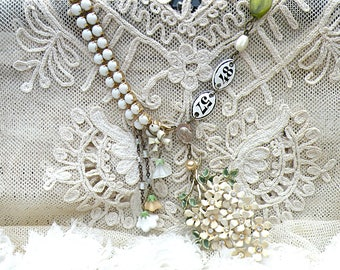 white lilac necklace assemblage upcycled vintage jewelry romantic flower charm repurposed pin cottage chic