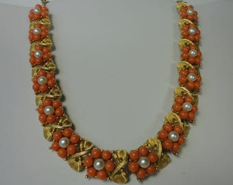 Vintage Gold Tone Metal with Orange Color Lucite Beads and White Faux Pearls Flowers Choker Necklace.