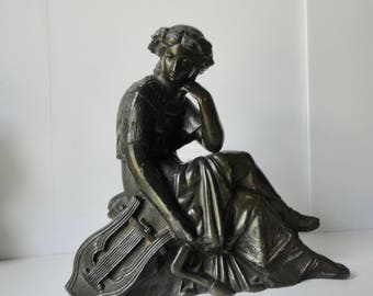 Antique Cast  Bronze Metal Lady with an Harp  Sculpture.