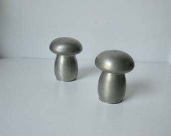 1970s KIRK Pewter Mushrooms By Hanle Salt and Pepper Shakers.
