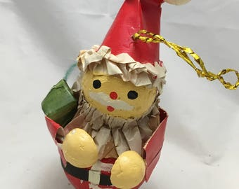 Vintage Paper Santa Claus Christmas Tree Ornament -Made in Taiwan