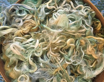 "Hand Dyed Suri Alpaca Fiber, Craft Fiber, Felting, Alpine, Willow, Citrus, ""Weeping Willow"""