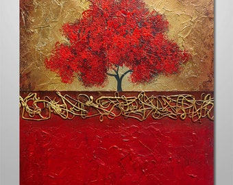 "Abstract Painting Acrylic Original Modern Heavy Textured Painting Art by Gabriela 24+x20"" Tree Landscape Modern Abstract Painting red gold"
