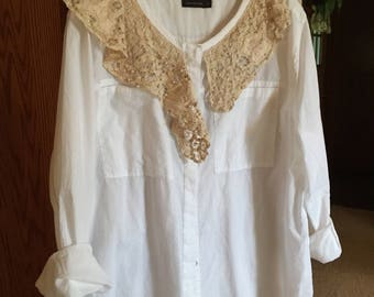 Altered , recycled, repurposed, plus size, white tunic, romantic, lace trimmed, romantic