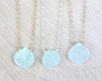 Druzy Necklace, Mint Green, Rose Gold, Yellow Gold, Sterling Silver, Chalcedony Drusy, Wedding Jewelry, Bridal Party MADE TO ORDER