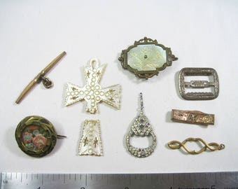Lot of Broken Antique & Vintage Jewelry Pieces For Repair - Re-purpose - Crafts - As Is
