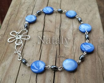 Blue Flower Bracelet - Unique Wife Gift - Dainty Bracelet for Women - Sterling Silver Delicate Bracelet for Women - Blue Bride Bracelet