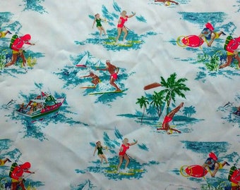 Retro Beach Fun Print Fabric Cotton Twill BTY LittlePinkTrailer