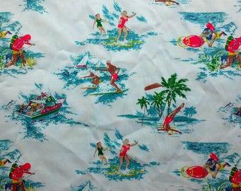 Retro Beach Fun Print Fabric Cotton Twill BTY LittlePinkTrailer