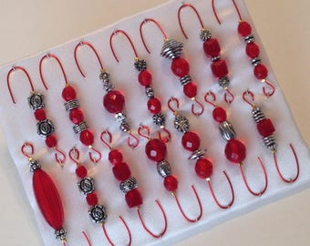 Beaded Christmas Ornament Hanger Hooks - Antique Silver and Red Czech Glass Beads - Red Wire - FREE SHIPPING