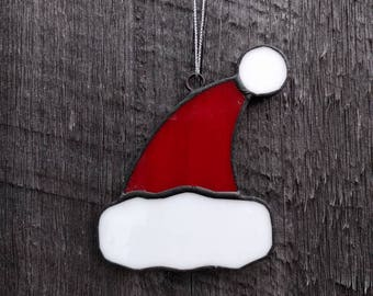 Stained Glass Santa Hat Sun Catcher