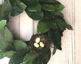 "24"" Magnolia Wreath with Bird Nest"