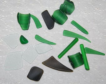 Green Sampler Faux Sea Glass recycled glass 19 pieces