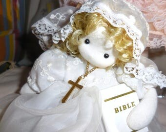 Musical First Communion Doll With Bible and Cross Shelf Sitter