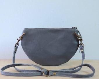 The Mini: Charcoal grey leather crossbody bag