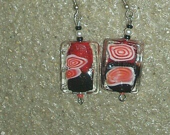 Lampwork, crystal, dangle earrings,