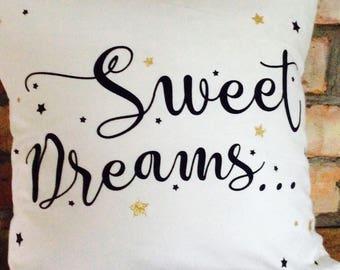 Novelty Sweet Dreams Typography Slogan Cushion Pillow Cushion Cover