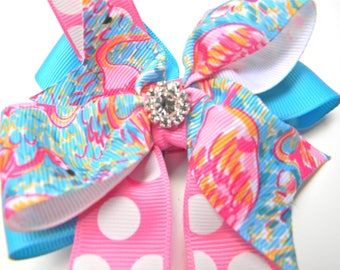 Lilly Pulitzer Hair Bow - Shrimp Flamingo peel and eat Hair bow- Flamingo Hair bow - Hot pink, blue Bow