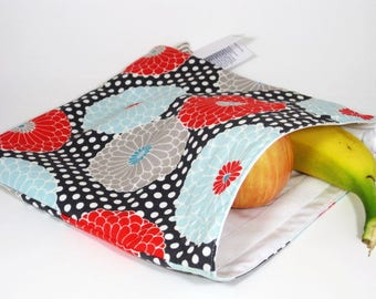 Retro Orange and Teal Flowers Large Resuable Bag