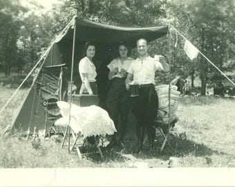 1920s Car Camping Man Holding Thermos Drink Cup Lean To Tent 20s Vintage Photograph Black White Photo