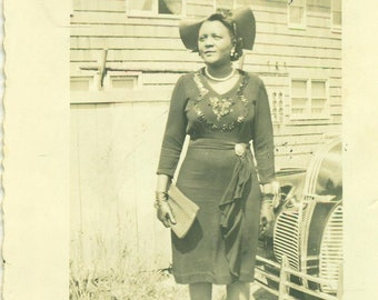 1940s African American Black Woman Standing Outside Elegant Dress 40s Vintage Photograph Black White Photo