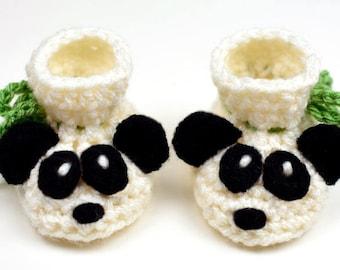 Baby Panda Booties - 3 Sizes - PDF Crochet Pattern - Instant Download