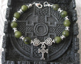 IRELAND Green CONNEMARA Marble Single Decade CELTIC Heart Knot Irish Rosary Bracelet
