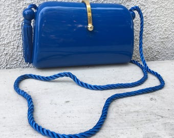 Chic vintage blue plastic evening bag with tassels