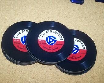 Record Coasters, Hardboard Coasters, Record Label Coasters