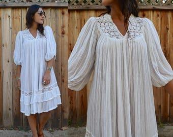 Vintage 70s CROCHET Cheesecloth POET SLEEVE Midi Dress