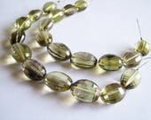 Bi Colored Lemon Smoky Quartz nuggets, fancy checker cut, puffy ovals, faceted, full 5.5 inch strand, 12-16mm (w174)