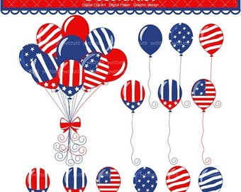 ON SALE - Patriotic Clip art , 4th of july balloons clipart, Independence day party Balloons, Patriotic balloons clipart