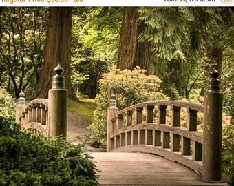 SUMMER SALE-Ends July 5- Japanese Garden Photograph Nature Photo Zen Buddhism Quiet Art Calm Peaceful Wooden Bridge Wall Art oth1