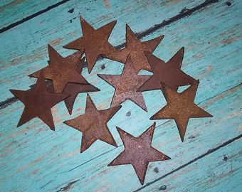 Small Stars Rustic Rusted Metal Blanks [set of 4] sealed, heavy weight steel for crafting supply, metal artwork, garden art