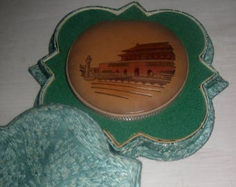 Mid Century Leather Powder Compact, souvenir of China, with Original Box, Never Used