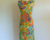 60s Mr. Dino MOD psychedelic shift dress size large