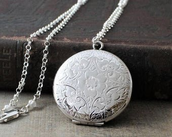 VACATION SALE Large Round Locket, Picture Locket, Antique Locket, Sterling Silver Locket Necklace, Silver Photo Locket, Unique Locket, Push