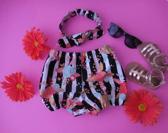 peach aqua coral flowers on black and white stripe fabric diaper cover bloomers and matching top knot headband babies toddlers