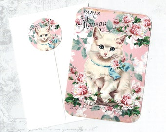 Note Cards, Kitten Note Cards, Notecard Set, White Cat, Kitten & Roses, Stickers